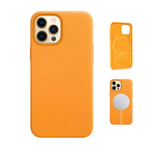 iPhone 12 leather case in California Poppy (Yellow)