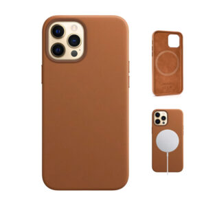 Apple 12 leather case in Saddle Brown
